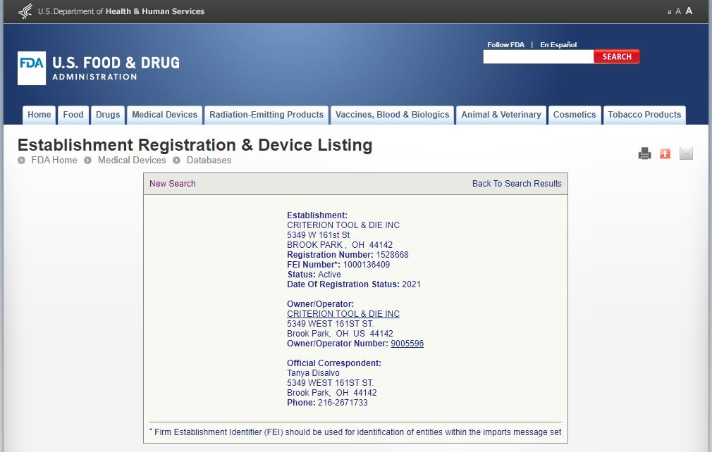 FDA Registration 2021